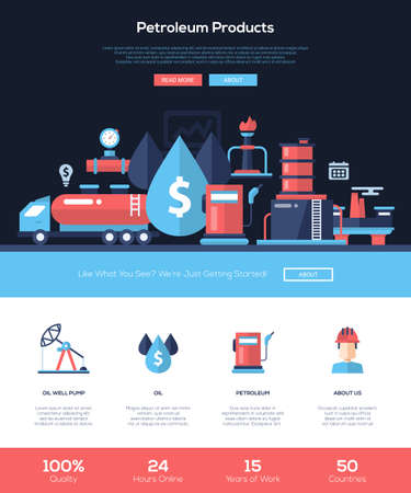 industry design: Petroleum products, oil and gas industry web site one page website template layout with flat header, banner, icons and other flat design web elements Illustration