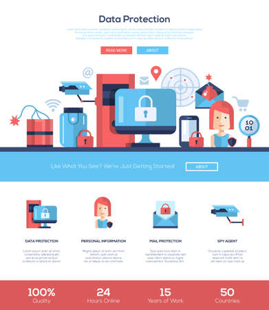Data protection services web site one page website template layout with flat header, banner, icons and other flat design web elements