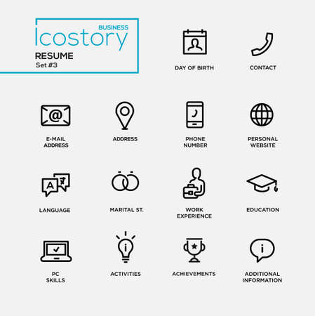 contact icons: Set of modern vector plain simple thin line design icons and pictograms for your resume. DOB, contact, phone, address, website, work experience, education, activities, information, info