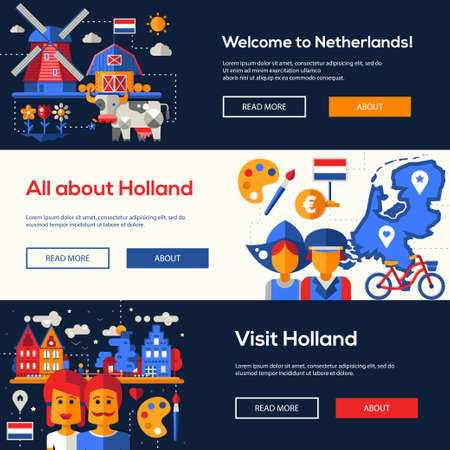 holand: Welcome to Holand travel website flat design headers, banners set with famous Dutch symbols