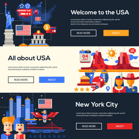 americana: Welcome to the United States of America travel website flat design headers, banners set with famous Americana symbols