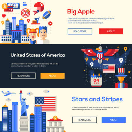 united states: Welcome to the United States of America travel website flat design headers, banners set with famous Americana symbols