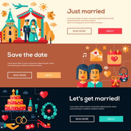 website design: Save the date wedding services website flat design headers, banners set. Wedding invitation templates set. Illustration