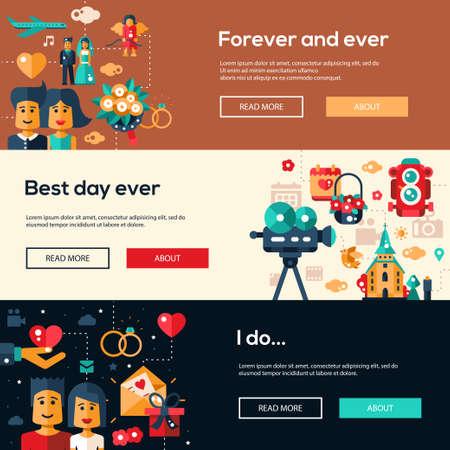 preparation: Save the date wedding services website flat design headers, banners set. Wedding invitation templates set. Illustration