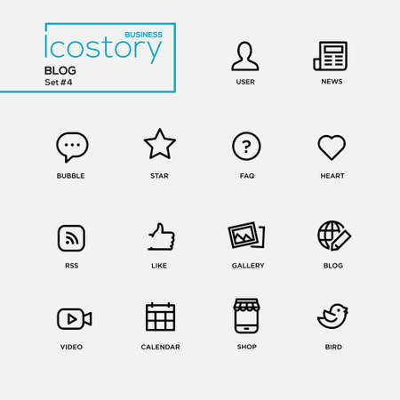 blog design: Set of modern vector plain simple thin line design icons and pictograms for your blog. User. news, comment, heart, like, gallery, frequently asked questions, video, calendar, shop