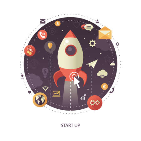 liftoff: Modern flat design start up business vector infographics illustration with a rocket liftoff to the space Illustration