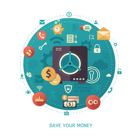 business savings: Modern flat design money savings business and finance vector infographics illustration with a safe and financial symbols and pictograms