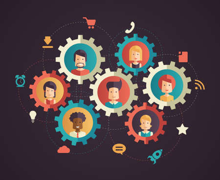 sales meeting: Modern flat designnetwork communication vector infographics illustration with people avatars in cogs and social networking pictograms and symbols