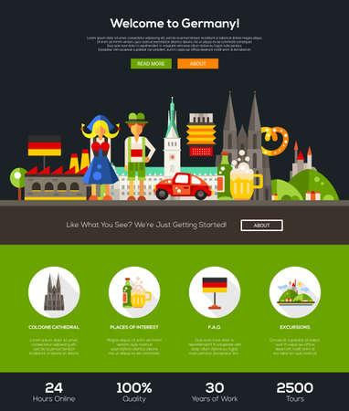 comida alemana: Bienvenido a Alemania sitio web de viajes una página web con el diseño de plantilla de cabeza plana de diseño, bandera, iconos y otros elementos de diseño web plana, símbolos alemanes famosos
