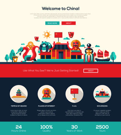 Welcome to China travel web site one page website template layout with flat design header, banner, icons and other flat design web elements, famous Chinese symbols