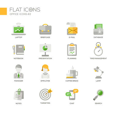 targeting: Set of modern vector office thin line flat design icons and pictograms. Laptop, briefcase, database, notebook, time management, manager, coffee break, lamp, notes, targeting