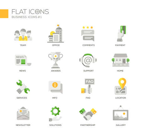 design solutions: Set of modern vector office and business thin line flat design icons and pictograms. Team, newsletter, setvices, solutions, comments, support, partnership, payment, location, gallery