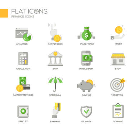 business savings: Set of modern vector office thin line flat design icons and pictograms. Collection of business infographics objects and web elements. Analytics, make money, calculator, bank, payment methods, insurance, savings. targeting, deposit, security, planning