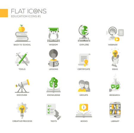 discover: Set of modern vector education thin line flat design icons and pictograms. Collection of education infographics objects and web elements. Back to school, webinar, tools, lessons, discover, knowledge, groups, research, tests, books, library
