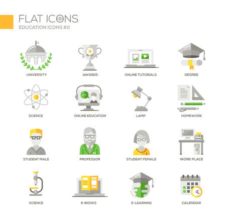 educational: Set of modern vector education thin line flat design icons and pictograms. Collection of education infographics objects and web elements. University, online education, science, e-books,  homework, work place, e-learning, calendar Illustration