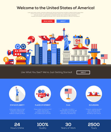 website template: Welcome to the United States of America travel web site one page website template layout with flat design header, banner, icons and other flat design web elements, famous American symbols Illustration