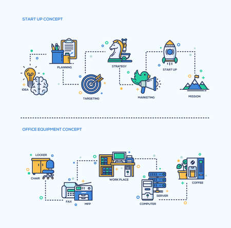 business equipment: Start up, office equipment business concepts compositions set. Vector modern line flat design infographics and webdesign elements. Idea, planning, strategy, marketing, start up, mission, work place, computer