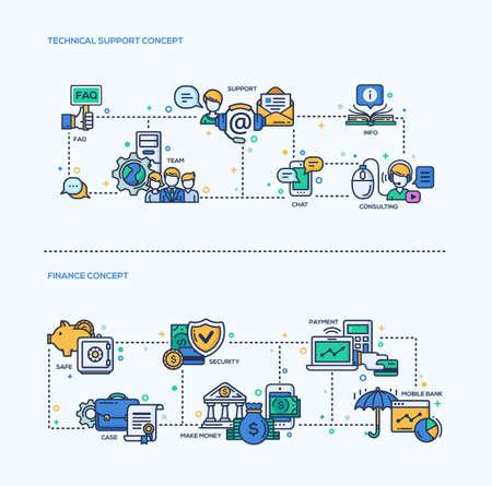Wsparcie techniczne, Finanse ikony koncepcje biznesowe zestaw kompozycji. Vector nowoczesne liniowe infografiki projektowania i elementów projektu stron internetowych. Wsparcie, zespół, cionsulting, info, bezpieczne, płatności, płatności, pieniędzy Ilustracje wektorowe
