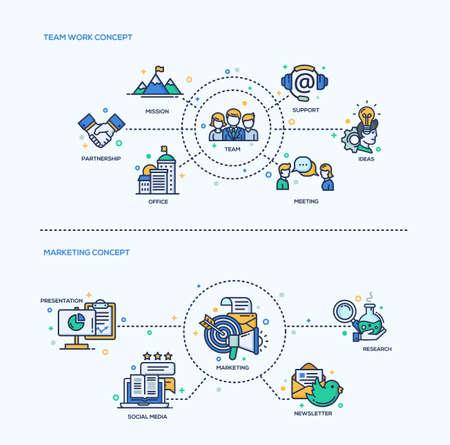 Team-Arbeit, Marketing-Ikonen Kompositionen Geschäftskonzepte setzen. Vector moderne Linie flache Design Infografiken und Webdesign-Elemente. Mission, Unterstützung, Treffen, Büro, Partnerschaft, Präsentation, Marketing, Social Media