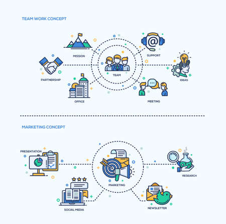 analisys: Team Work, Marketing icons business concepts compositions set. Vector modern line flat design infographics and webdesign elements. Mission, support, meeting, office, partnership, presentation, marketing, social media Illustration