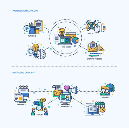 analisys: Web Design, Blogging icons concepts compositions set. Vector modern line flat design infographics and webdesign elements. Planning, web design, creative process, blogging, articles,  comments, readers Illustration