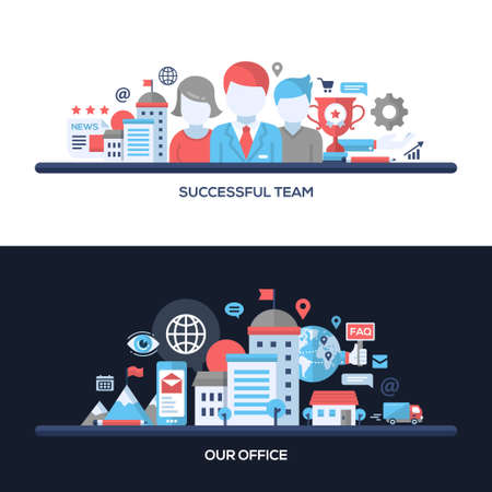 our team: Successful Team, Our Office concepts compositions set. Vector modern line flat design infographics elements and webdesign banners, headers.