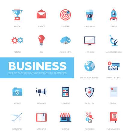 negocios internacionales: Pf establecidos modernas infografía asunto del vector iconos planos de diseño, elementos de diseño web. Misión, la orientación, la nube, internacional, la protección, el comercio electrónico, contabilidad, compras, descanso para tomar café Vectores