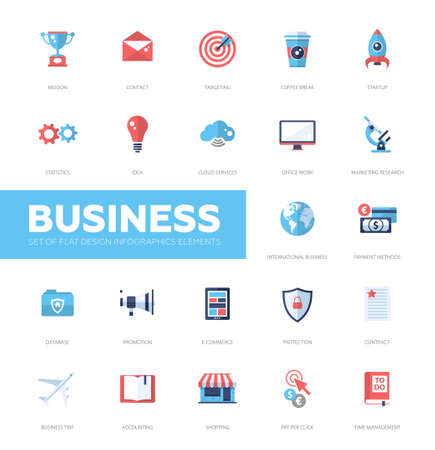 international business: Set pf modern vector business infographics flat design icons, web design elements. Mission, targeting, cloud, international, protection, e-commerce, accounting, shopping, coffee break