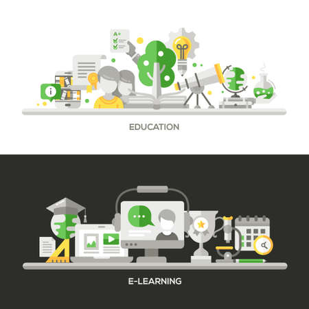 analisys: Online Education, E-Learning concepts compositions set. Vector modern line flat design infographics elements and webdesign banners, headers.