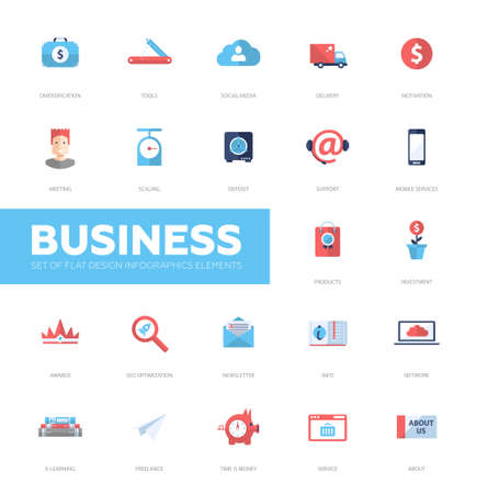 diversification: Set pf modern vector business infographics flat design icons, web design elements. Support, social media, diversification, seo, info, service, e-learning, motivation, investment