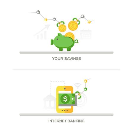 elementos: Sus ahorros, banca por Internet - hucha y aplicación móvil de diseño plana iconos individuales. banners, diseño web, elementos de encabezado.