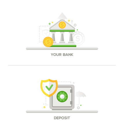 bank deposit: Your Bank, Deposit -bank and security and protection safe, vault flat design single icons. Webdesign banners, header, elements.