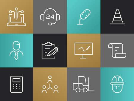 단일 선 사업 무늬가 설정합니다. IT 하드 모자 기호, 헤드셋, 지원, 마이크, 트래픽 콘, 넥타이 남자, 펜 클립 보드, 그래픽과 화면 스크롤 종이, 계산기,