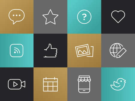 single line: Single Line Blog, Social Network Pictograms Set. Bulb with dots, question mark, heart, rss, thumb up, pictures, globe with a pencil,