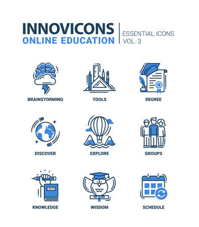 discover: Online Education Icons Set Brainstorming tools wisdom discover explore group schedule degree knowledge