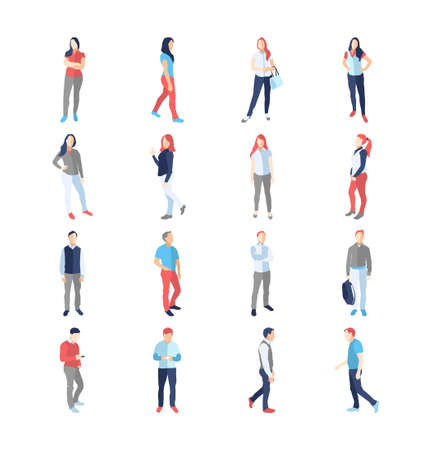 akimbo: People, male, female, in different casual common poses - modern vector flat design isolated icons set. Standing walking watching smartphone arms across akimbo with a bag Illustration