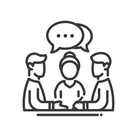 비즈니스 회의 하나의 고립 된 현대 벡터 라인 디자인 아이콘입니다. 점 기호 연설 거품을 가진 사람의 그룹