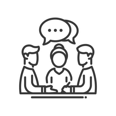 Zakelijke bijeenkomst enkele geïsoleerde moderne vector lijn design icoon. Groep mensen met een tekstballon met stippen teken Stock Illustratie