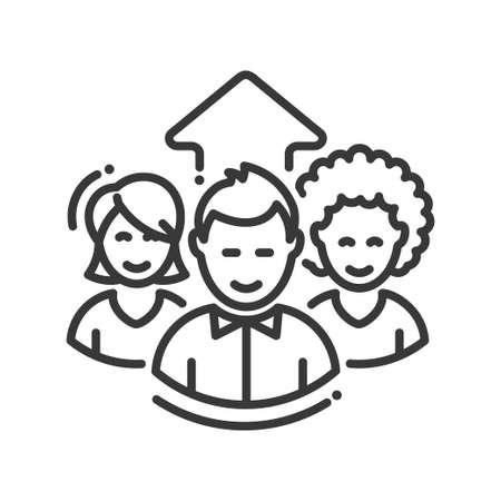 work in progress: Business team work progress single isolated modern vector line design icon. Group of people with a an arrow up Illustration