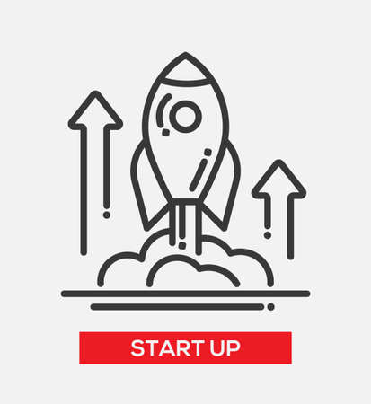 liftoff: Business start up single isolated modern vector line design icon. A rocket liftoff with arrows up