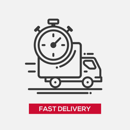 forwarder: Business fast delivery service single isolated modern vector line design icon. Truck with stopwatch