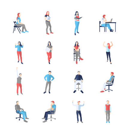 girl laptop: People, male, female, in different casual common poses - modern vector flat design isolated icons set. Standing, sitting, holding book, delight, success, at the computer