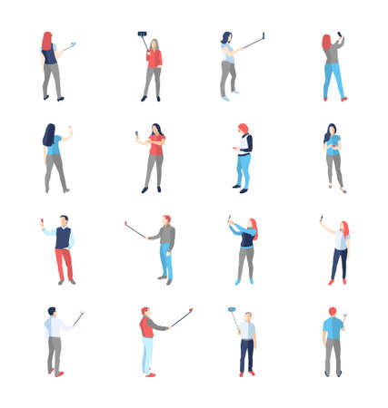 selfy: People, male, female, in different shooting selfy pictures poses - modern vector flat design isolated icons set. Making selfies with and without selfy stick Illustration