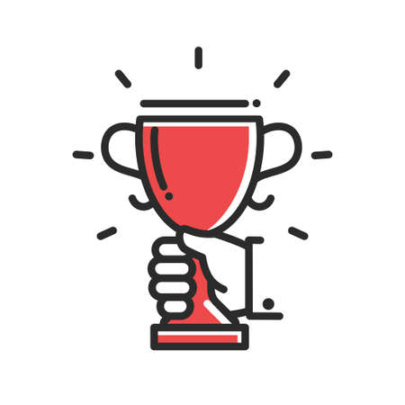 successfulness: Champion cup award achievement single isolated modern vector line design icon. Hand holdng a cup. Illustration