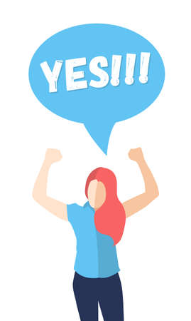 woman arms up: Female in a pose of success with hands up and saying YES - modern vector flat design composition