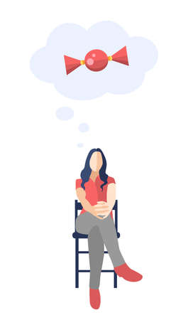 pose: Female sitting on a chair with legs crossed and thinking about a candy - modern vector flat design composition