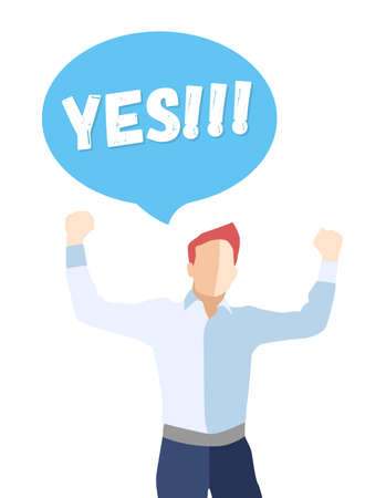 successfulness: Male in a pose of success with hands up and saying YES - modern vector flat design composition Illustration
