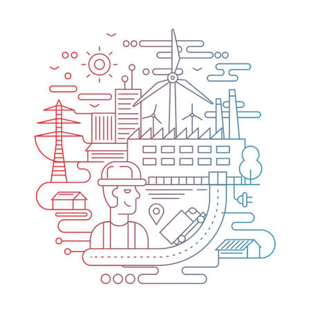 Illustration of vector modern line flat design city composition with people, factory buildings and alternative energy infographics elements - color gradient