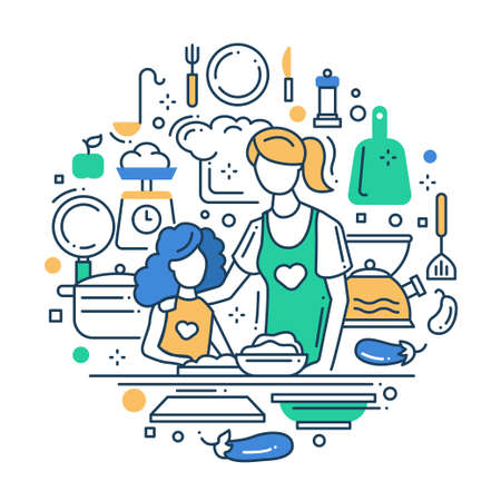 values: Illustration of vector modern line flat design composition with mother and daughter cooking at the kitchen Illustration