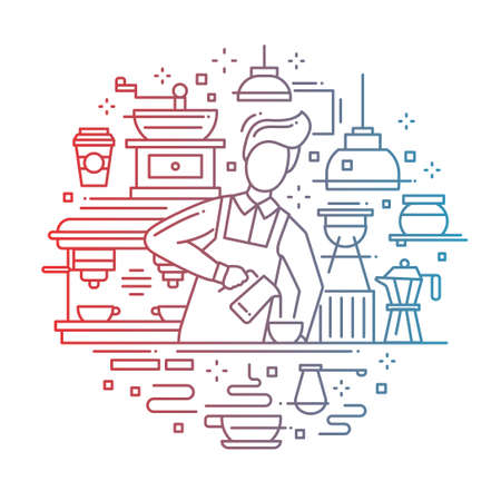 barista: Illustration of vector modern line flat design composition with male barista making and serving cofee at the cafe counter - color gradient